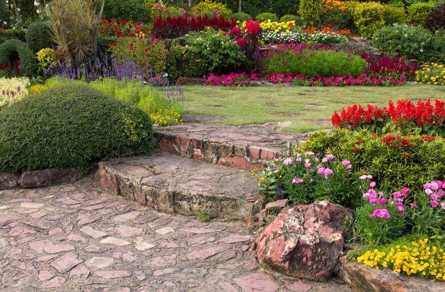 jardin avec fleurs colorés et agencées